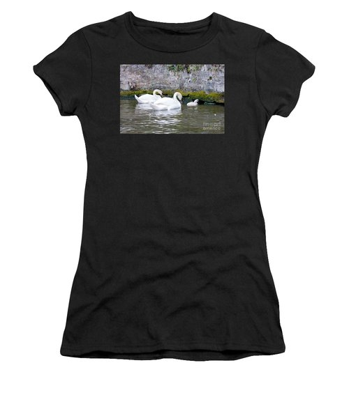 Swans And Cygnets In Brugge Canal Belgium Women's T-Shirt (Athletic Fit)