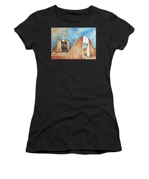 Taos Pueblo New Mexico - Watercolor Art Painting Women's T-Shirt
