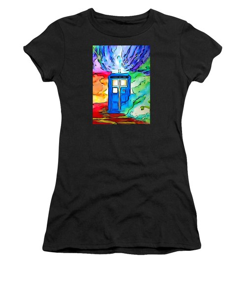 Women's T-Shirt (Junior Cut) featuring the drawing Tardis Illustration Edition by Justin Moore
