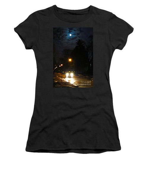 Women's T-Shirt (Junior Cut) featuring the photograph Taxi In Full Moon by Nina Silver