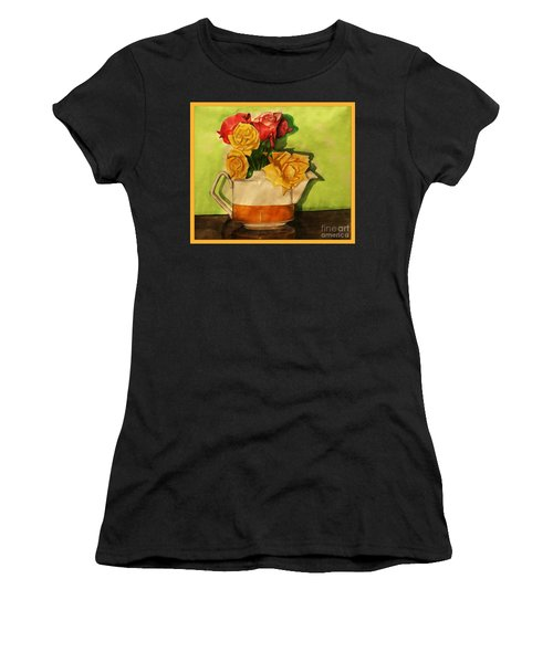 Tea Roses Bordered Women's T-Shirt (Athletic Fit)