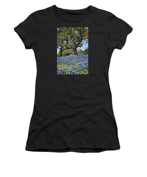 Texas Bluebonnet Hill Women's T-Shirt (Athletic Fit)
