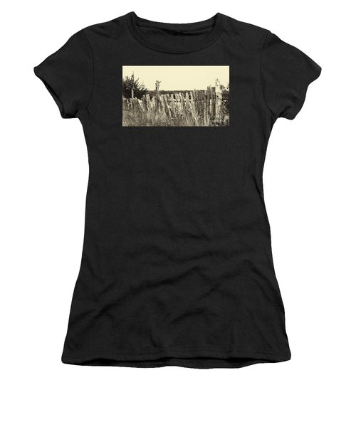 Texas Fence In Sepia Women's T-Shirt (Athletic Fit)