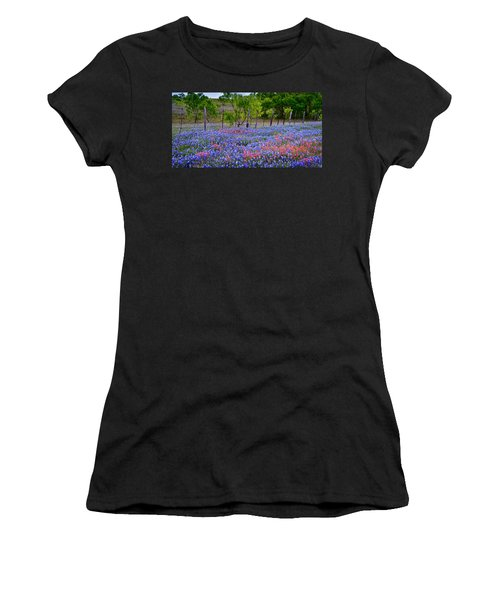 Women's T-Shirt (Junior Cut) featuring the photograph Texas Roadside Heaven -bluebonnets Paintbrush Wildflowers Landscape by Jon Holiday