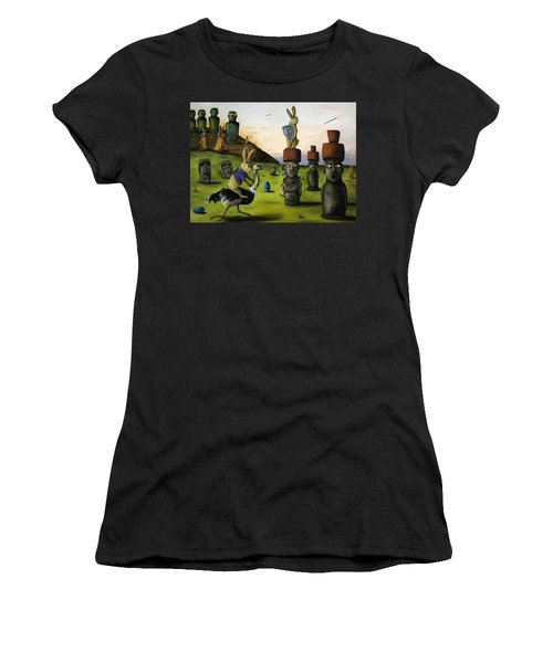The Battle Over Easter Island Women's T-Shirt (Junior Cut) by Leah Saulnier The Painting Maniac