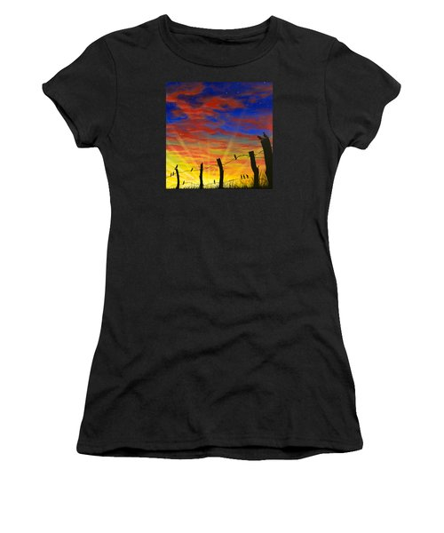 The Birds - Red Sky At Night Women's T-Shirt (Athletic Fit)