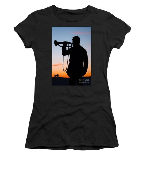 Women's T-Shirt (Junior Cut) featuring the painting The Bugler by Karen Lee Ensley