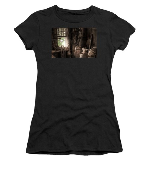 Women's T-Shirt (Junior Cut) featuring the photograph The Coopers Window - A Glimpse Into The Artisans Workshop by Gary Heller