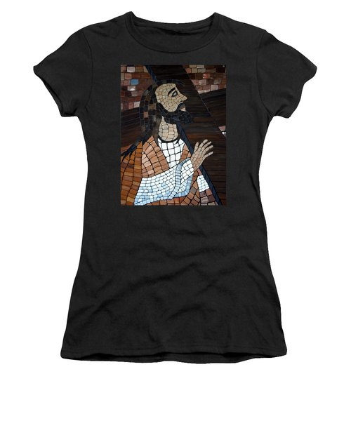 Women's T-Shirt featuring the painting The Cross by Cynthia Amaral