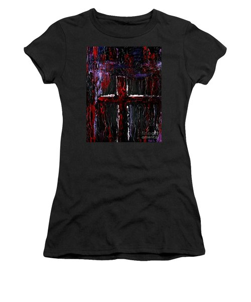 Women's T-Shirt (Junior Cut) featuring the painting The Crossroads #1 by Roz Abellera Art