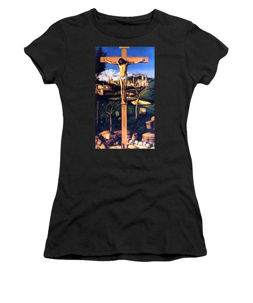 Women's T-Shirt (Junior Cut) featuring the painting The Crucifixion 1503 Giovanni Bellini by Karon Melillo DeVega