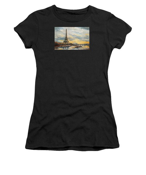 The Eiffel Tower- From The River Seine Women's T-Shirt (Athletic Fit)