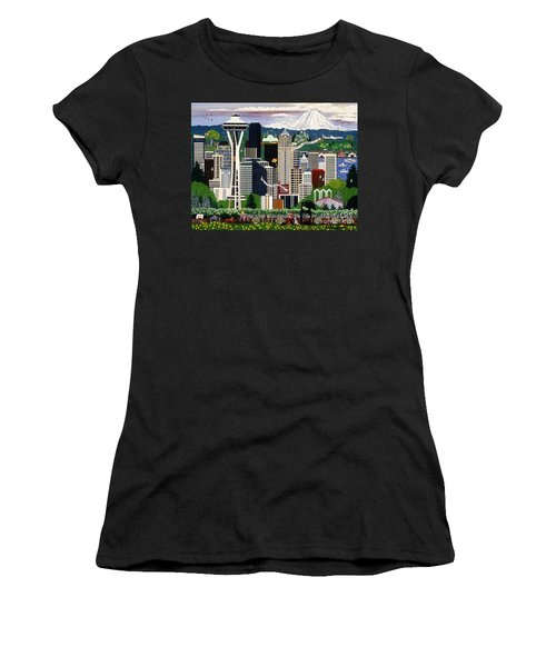 Women's T-Shirt (Junior Cut) featuring the painting The Emerald City Seattle by Jennifer Lake