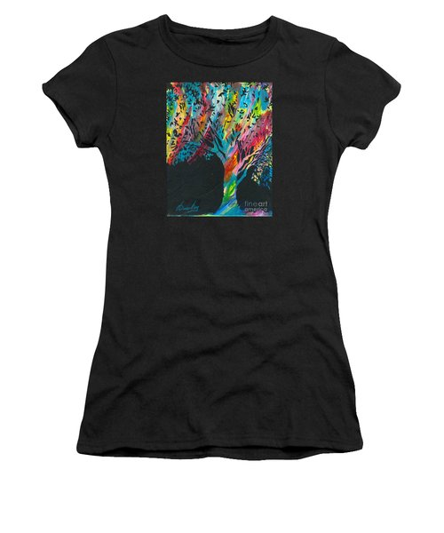The Happy Tree Women's T-Shirt (Junior Cut) by Denise Hoag
