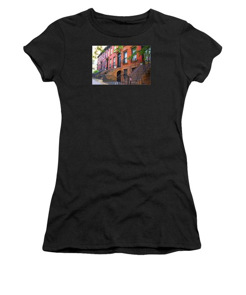 The Historic Brownstones Of Brooklyn Women's T-Shirt (Junior Cut) by Dora Sofia Caputo Photographic Art and Design