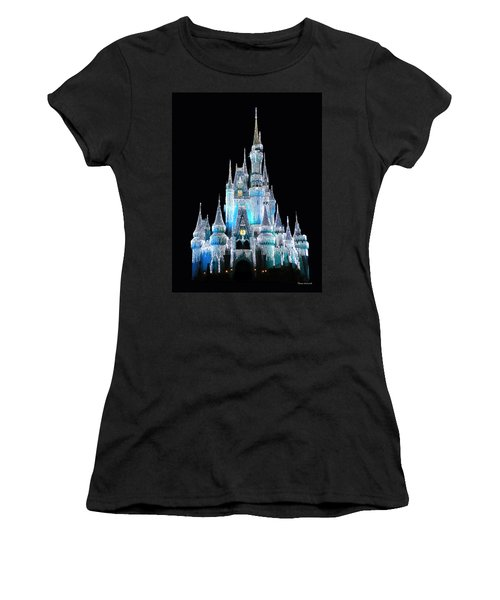 The Magic Kingdom Castle In Frosty Light Blue Walt Disney World Women's T-Shirt (Athletic Fit)