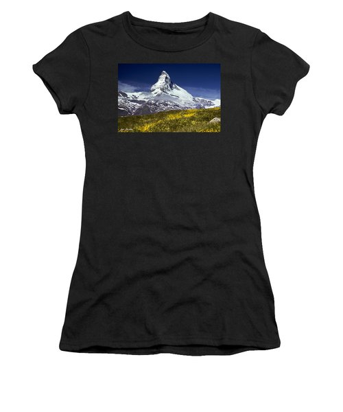The Matterhorn With Alpine Meadow In Foreground Women's T-Shirt