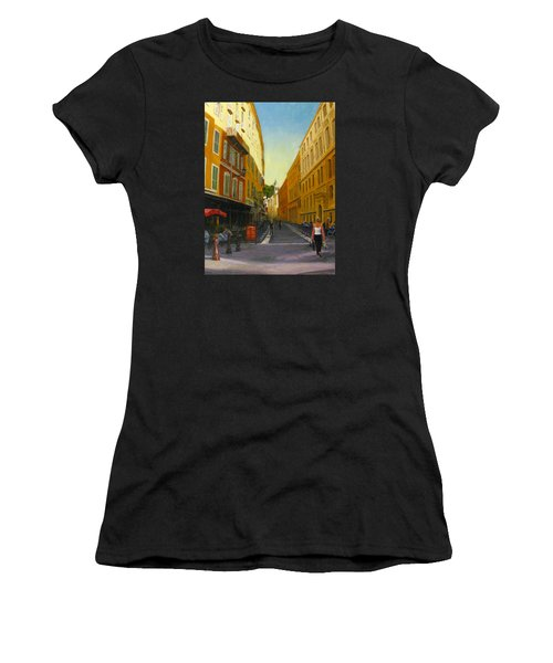 The Morning's Shopping In Vieux Nice Women's T-Shirt (Junior Cut) by Connie Schaertl