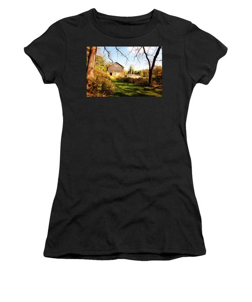 Women's T-Shirt (Junior Cut) featuring the photograph The Old Barn by Trina  Ansel