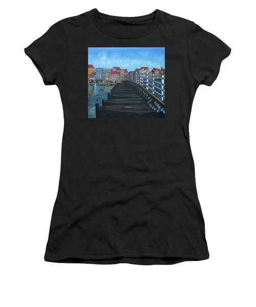 The Old Queen Emma Bridge In Curacao Women's T-Shirt (Athletic Fit)