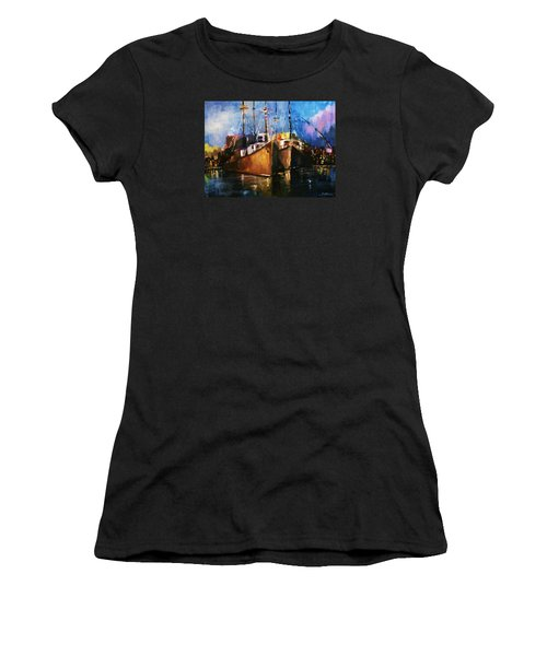 Women's T-Shirt (Junior Cut) featuring the painting The Pier At Sunset by Al Brown