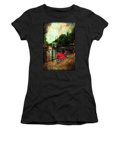 The Red Bicycle Women's T-Shirt (Junior Cut) by Randi Grace Nilsberg