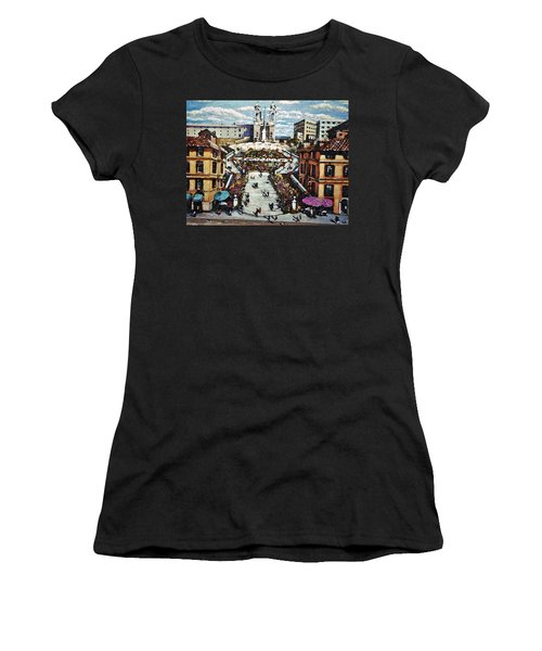 Women's T-Shirt (Junior Cut) featuring the painting The Spanish Steps by Rita Brown