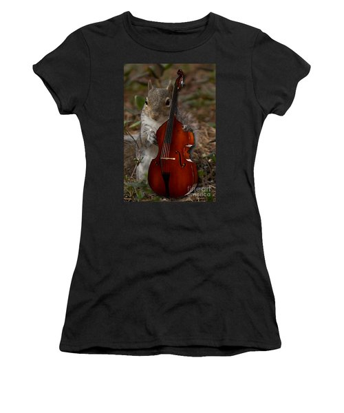 The Squirrel And His Double Bass Women's T-Shirt (Athletic Fit)