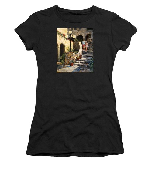 Women's T-Shirt (Junior Cut) featuring the painting The Steps by Alan Lakin