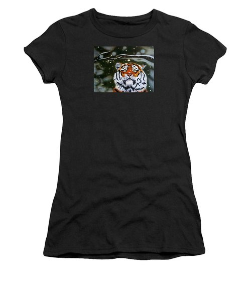 The Tiger In Winter Women's T-Shirt (Athletic Fit)