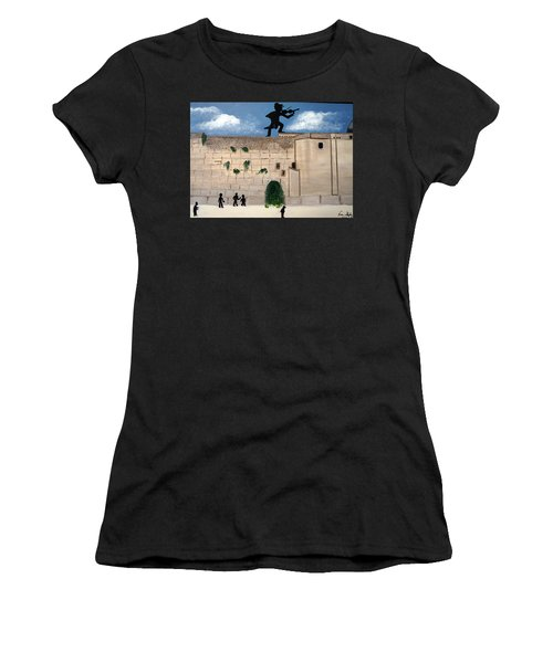Women's T-Shirt (Junior Cut) featuring the painting The  Western Wall And Fiddler On The Roof by Nora Shepley