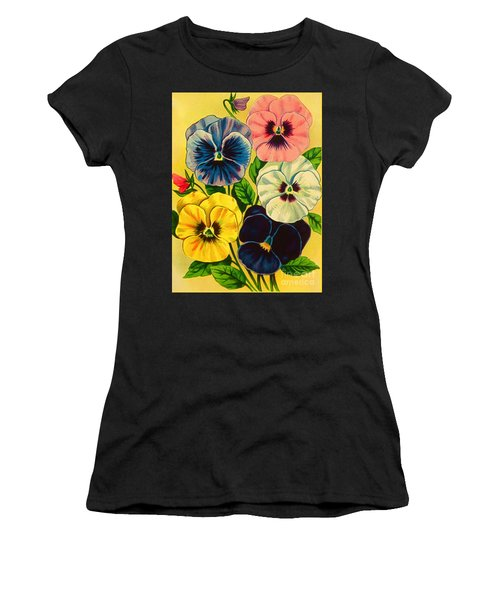 Pansy Flowers Antique Packaging Label  Women's T-Shirt (Athletic Fit)