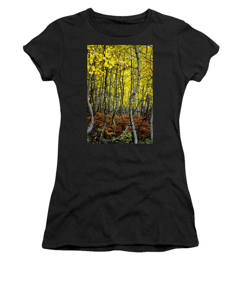 Women's T-Shirt (Junior Cut) featuring the photograph Through The Aspen Forest by Ellen Heaverlo