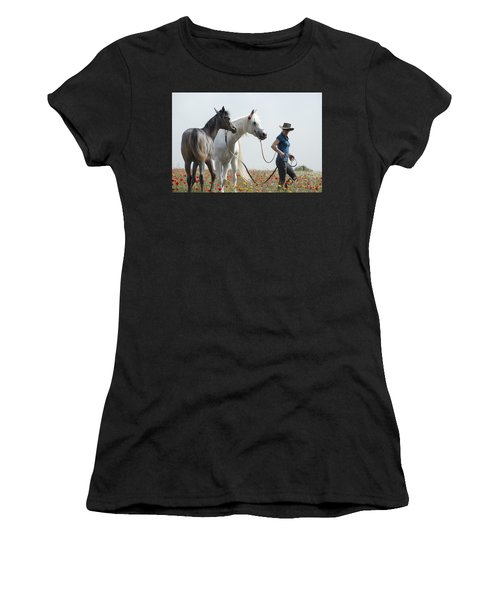 Three At The Poppies' Field... 1 Women's T-Shirt (Athletic Fit)