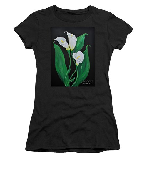 Women's T-Shirt (Junior Cut) featuring the painting Three Calla Lilies On Black by Janice Rae Pariza