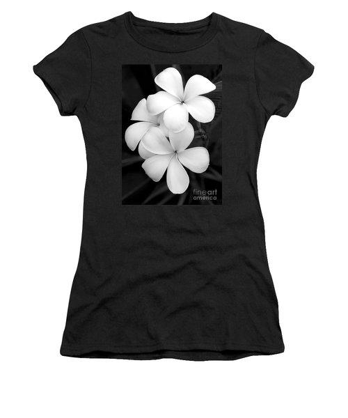 Three Plumeria Flowers In Black And White Women's T-Shirt