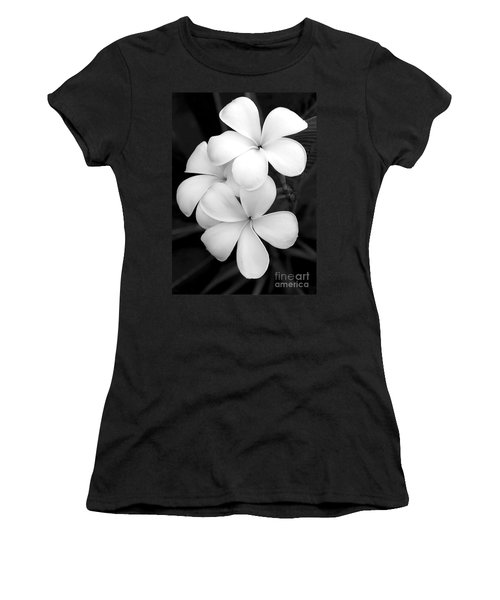Three Plumeria Flowers In Black And White Women's T-Shirt