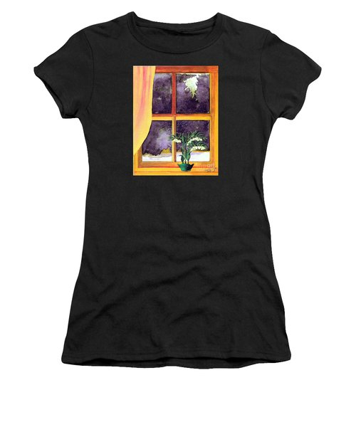 Women's T-Shirt (Junior Cut) featuring the painting Through The Window by Patricia Griffin Brett