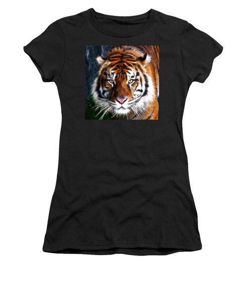 Tiger Close Up Women's T-Shirt (Junior Cut) by Steve McKinzie