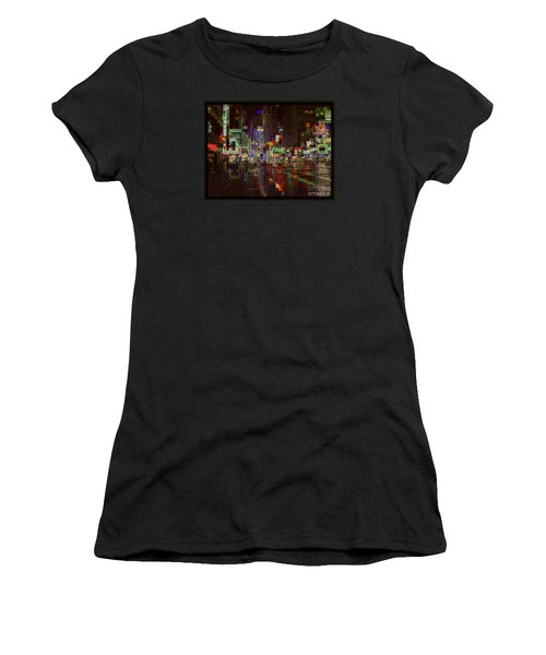 Times Square At Night - After The Rain Women's T-Shirt (Junior Cut) by Miriam Danar