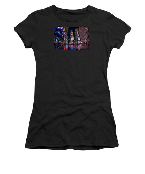 Times Square New York City The City That Never Sleeps Women's T-Shirt (Junior Cut) by Susan Candelario