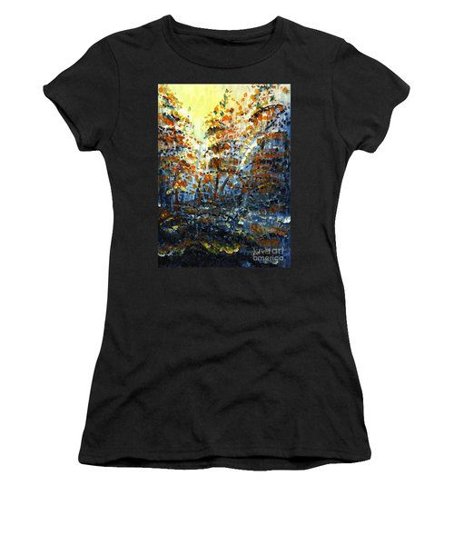 Women's T-Shirt (Junior Cut) featuring the painting Tim's Autumn Trees by Holly Carmichael