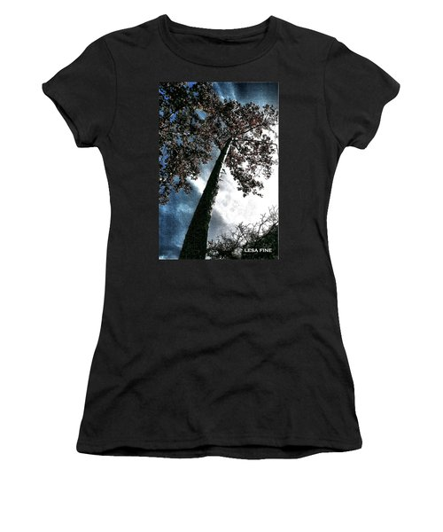 Tippy Top Tree II Art Women's T-Shirt (Junior Cut) by Lesa Fine