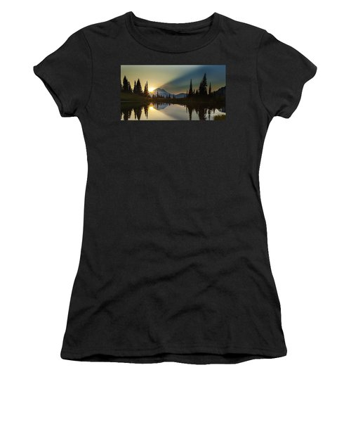 Tipsoo Rainier Sunstar Women's T-Shirt (Junior Cut) by Mike Reid