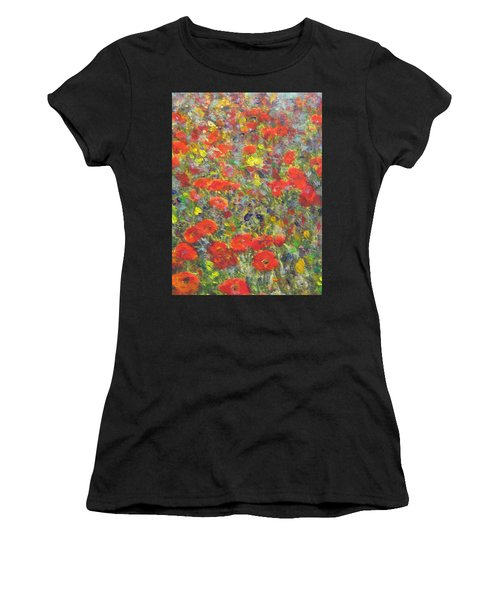 Tiptoe Through A Poppy Field Women's T-Shirt (Athletic Fit)