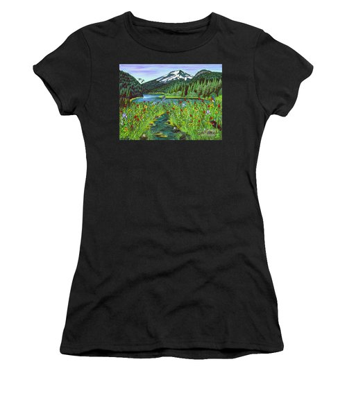 Todd Lake Mt. Bachelor Women's T-Shirt (Athletic Fit)