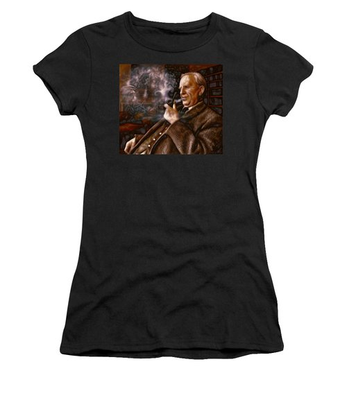 Women's T-Shirt (Junior Cut) featuring the painting Tolkien Daydreams by Dave Luebbert