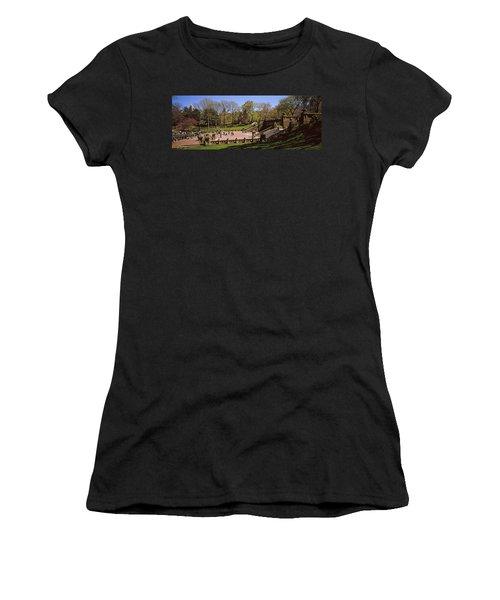 Tourists Enjoying At Bethesda Terrace Women's T-Shirt