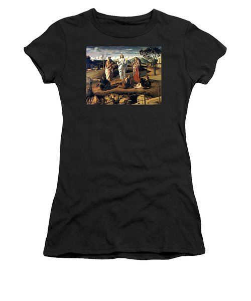 Women's T-Shirt (Junior Cut) featuring the painting Transfiguration Of Christ 1487 Giovanni Bellini by Karon Melillo DeVega