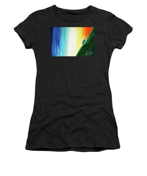 Women's T-Shirt (Junior Cut) featuring the painting Travelers Rainbow Waterfall Detail by First Star Art